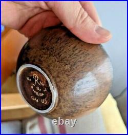 Set of 3 Vintage Signed Gunnar Nylund Fur Glazed Bowls Rörstrand Excellent MCM