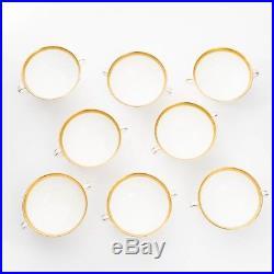 Set of 8 Vtg Royal Doulton China Footed Cream Soup Bowls & Saucers Royal Gold