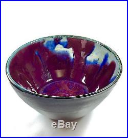 Signed Vintage Japanese Cinnabar Flambe Studio Art Pottery Bowls Handcrafted