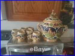 Stunning Vintage Gerz Germany Ceramic Stoneware Punch Bowl Castle & 6 Mugs Set