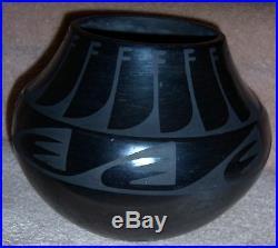 TONITA JUAN ROYBAL San Ildefonso Blackware Jar Bowl Pot Circa 1930'S RARE VTG