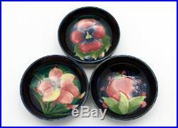 Three Vintage Moorcroft Art Pottery Miniature Bowls