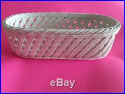 Tiffany & CO Vintage Clean White Weave Porcelain open Basket Pottery Bowl 14 lg