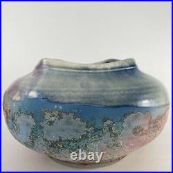 Tony Evans Raku Vase Pottery Vintage Large Centerpiece Bowl Signed and No