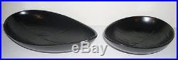 Two Vintage Upsala Ekeby Gefle Swedish Black Leaf Bowls
