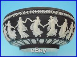 Very Large Vintage Wedgwood Black Jasperware Bowl Dancing Hours