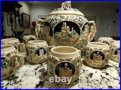 VINTAGE ANTIQUE Gerz German Rumtopf Castle Stoneware Punch Bowl Set (8 mugs)