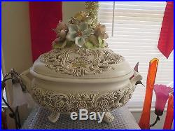Vintage Antique Italian Majolica Pottery Large Lidded Bowl Centerpiece