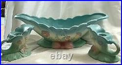 VINTAGE BLUE HULL BOW KNOT ART POTTERY CONSOLE BOWL B-16-13 1/2 WithCANDLE HOLDERS