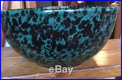 VINTAGE Bennington Potters 2180 Pottery Spongeware GREEN AGATE 14 SALAD BOWL