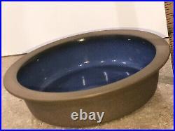 VINTAGE EDITH HEATH 430 POTTERY RIMMED SERVING BOWL Brown Blue MOONSTONE MCMVTG