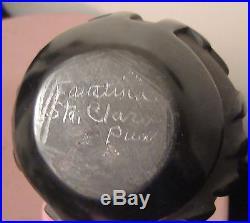 Vintage Handmade Native Santa Clara Black Pueblo Faustina Pottery Bowl Basket