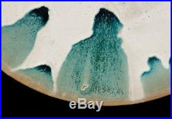 VINTAGE JAPANESE POTTERY LOW BOWL PLATE MASHIKO JAPAN NUKA GLAZE With THICK DRIPS