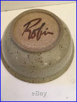 VINTAGE RARE Robin Hopper Autographed BOWL 6 T 9.78Wide Canadian