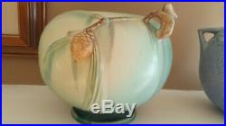 VINTAGE ROSEVILLE POTTERY Green PINECONE JARDINIERE BOWL 6