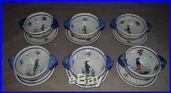 VINTAGE SET OF 6 HENRIOT QUIMPER FRANCE ART POTTERY SERVING BOWLS WithUNDERPLATES