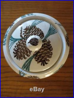 Vintage Tepco Pinecone Needles & Pine Covered Sugar Bowl Rare MID Century