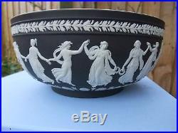 VINTAGE WEDGWOOD BLACK JASPERWARE LARGE BOWL DANCING HOURS C1997 signed