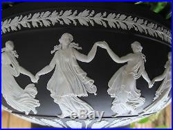 VINTAGE WEDGWOOD BLACK JASPERWARE LARGE BOWL WITH THE DANCING HOURS c1965