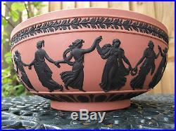 Vintage Wedgwood Terracott / Pink Jasperware Large Bowl Dancing Hours