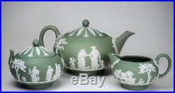 VINTAGE Wedgwood GREEN Jasperware Teapot Creamer Sugar Bowl EXCELLENT