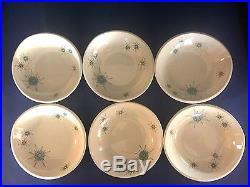 Vntg Franciscan Starburst Atomic MID Century Modern 7 Soup / Cereal Bowls X 6