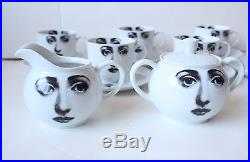 VTG 1960's Fornasetti Tema E Variazioni Tea Set for 6- Cups, Creamer, Sugar Bowl