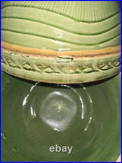 VTG ANTIQUE Set of 3 in MCCOY GREEN SUNBURST YELLOW WARE STONEWARE MIXING BOWLS