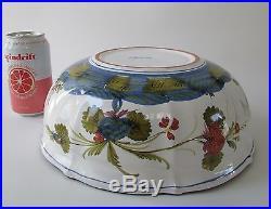 VTG Garofano Faenza Blue Carnation Italian Faience Large Centerpiece Bowl