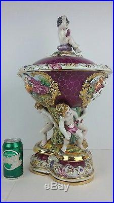 VTG Keramos R. Capodimonte Porcelain Bowl With Lid & Cherubs Italy Soup Tureen