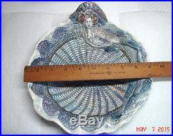 Vtg Ooak Studio Art Pottery Carved Spahgetti Mermaid Lace Fancy Ruffle Clam Bowl