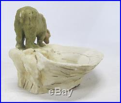 VTG Post WWII Era Royal Dux Bohemia Porcelain Bear Bowl Sculpture Figurine yqz