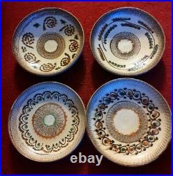 VTG Set of 4 Horezu Romanian Pottery Ceramics Bowls Dish European Clay Folk Art