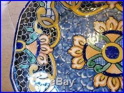 VTG Talavera Pottery Signed Uriarte Puebla Mexico A. A. E. Platter Serving Bowl