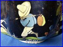 VTG Tlaquepaque 1930-40's Black Glaze LARGE Scalloped Ruffle BOWL MEXICO Pottery