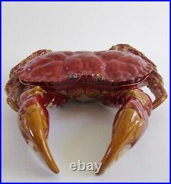 VTG XL Majolica Bordallo Pinheiro Crab with Covered Lid Sculpture Seafood Server