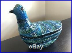 V. RARE Vintage MCM Italian Pottery Bird Lidded Bowl Raymor Bitossi Rimini Blue
