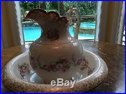 Victorian Semi-Vitreous Porcelain K T K Pitcher & Basin Bowl LG Vintage Antique