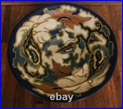 Vintage 10.5 Regina Tacora Gouda Footed Bowl Floral Matte Finish/Multicolored