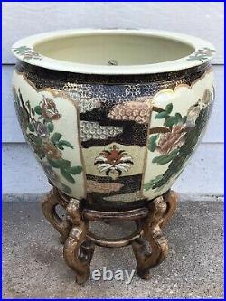 Vintage 14.5 Oriental Pottery Jardiniere Koi Fish Bowl Planter Pot Vase WithStand