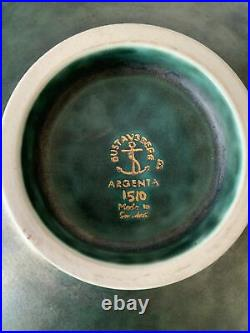 Vintage 1930s Gustavsberg Argenta Art Pottery Footed Bowl WithSilver Overlay Kage