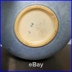 Vintage 1934 ROSEVILLE TOPEO 245-6 Blue Bowl Vase Rosettes Ceramic Art Pottery