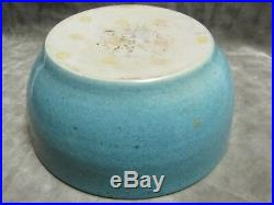 Vintage 1938 Texas A&M Art Pottery Student Bowl Vase Blue Yellow Rare item