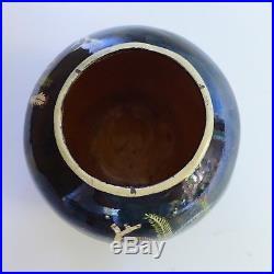 Vintage 1940 Mexican Tlaquepaque black round tecomate bowl 5 3/4 tall