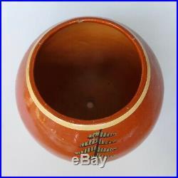 Vintage 1940's Mexican Tlaquepaque Tecomate tourist pottery round bowl 6 1/4 w