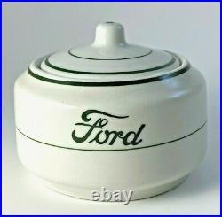 Vintage 1952 Ford Motor Co. Cafeteria Sugar Bowl Green Logo Wellsville China