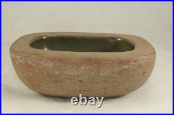 Vintage 1954 HARDING BLACK 2½ Stoneware Rectangular Bowl Sand & Olive Green