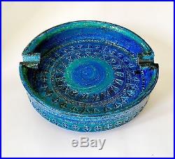 Vintage 1960s Aldo Londi Bitossi Raymor Italy Rimini Blue Ceramic Ashtray Bowl