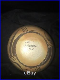 Vintage 1967 Hopi Pueblo Indian Polychrome Pottery Bowl
