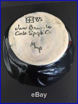 Vintage 1985 Van Briggle Lotus/Leaf Black/Blue Bowl